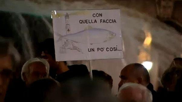 "40.000 ""Sardinen"" gegen  Matteo Salvini"