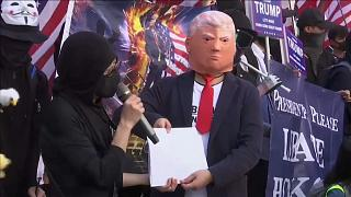 مجسّم للرئيس الأمريكي دونالد ترامب وشكر خاص من محتجي هونغ كونغ 01.12.19