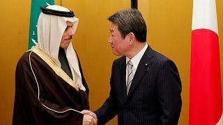 وزير الخارجية الياباني توشيميتسو موتيجي يلتقي الأمير فيصل بن فرحان الفيصل  خلال اجتماع وزراء خارجية مجموعة العشرين في ناغويا_ أرشيف رويترز