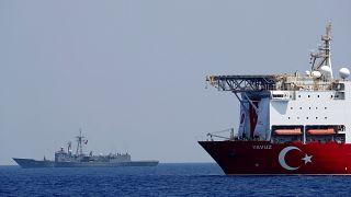 FILE PHOTO: Turkish drilling vessel Yavuz is escorted by Turkish Navy frigate TCG Gemlik (F-492) in the eastern Mediterranean Sea off Cyprus, August 6, 2019.