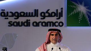 ياسر الرميان، رئيس مجلس إدارة أرامكو السعودية خلال مؤتمر صحفي في الظهران