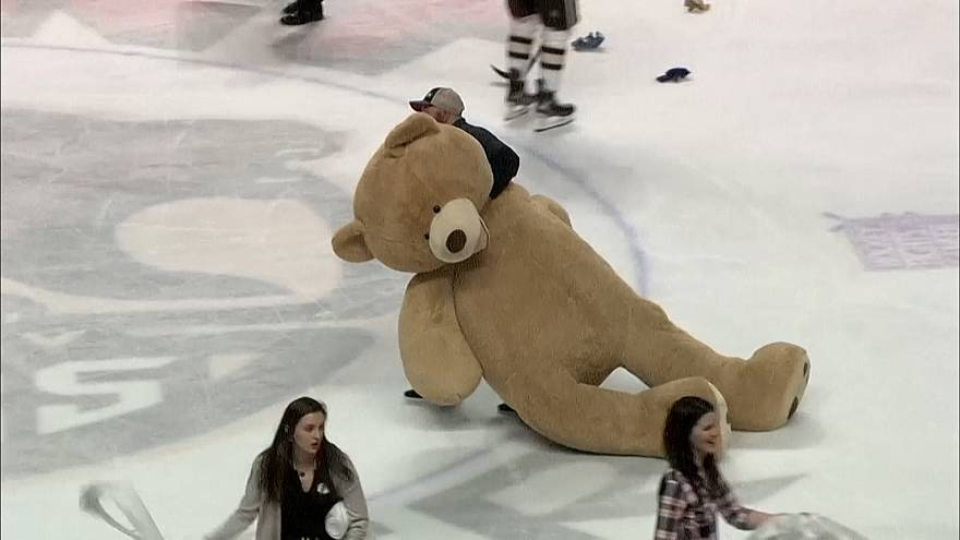 بیش از ۴۵ هزار خرس عروسکی در زمین بازی هاکی روی یخ