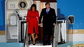 President Donald Trump and First Lady Melania arrived at London Stansted airport.