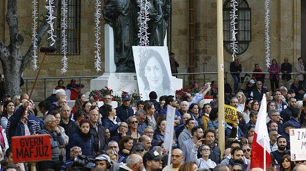 Protesto em La Valetta em memória da jornalista assassinada Caruana Galizia
