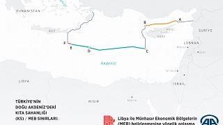 Ο προκλητικός χάρτης όπως τον δημοσιεύει το τουρκικό πρακτορείο Ανατολή
