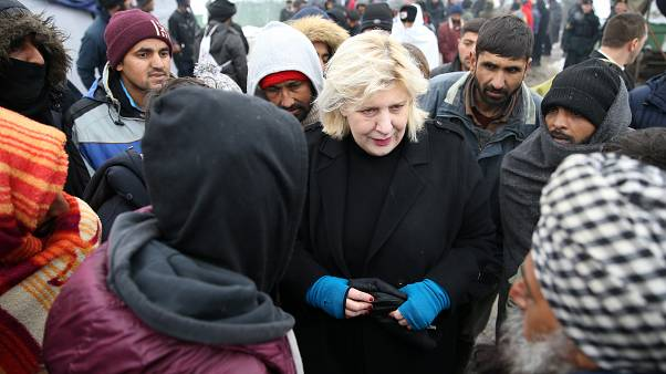 Dunja Mijatovic spoke to migrants at the makeshift camp near near Bihac, Bosnia and Herzegovina
