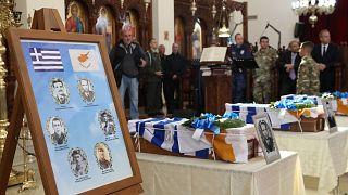 Τελετή παράδοσης λειψάνων Ελλαδιτών πεσόντων της τουρκικής εισβολής, στον Ιερό Ναό της του Θεού Σοφίας.