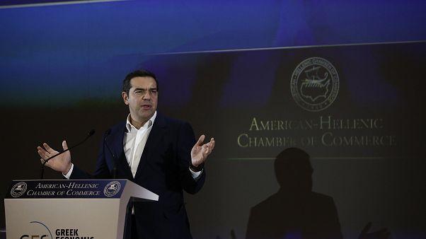 Ο πρόεδρος του ΣΥΡΙΖΑ, Αλέξης Τσίπρας, μιλάει στο 30o Annual Greek Economic Summit που διοργάνωσε το Ελληνο-Αμερικανικό Εμπορικό Επιμελητήριο