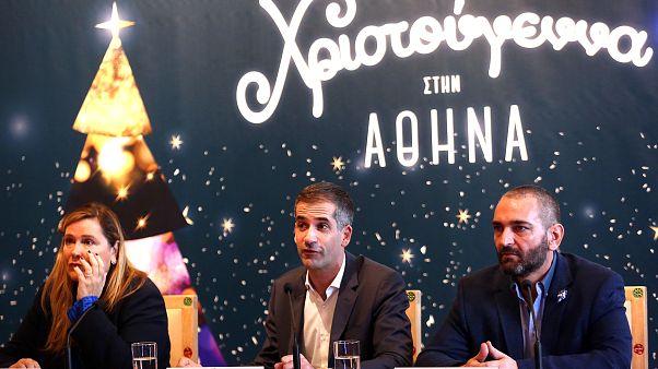 """Ο δήμαρχος Αθηναίων Κώστας Μπακογιάννης μιλάει κατά τη διάρκεια συνέντευξης τύπου για την παρουσίαση του προγράμματος """"Χριστούγεννα στην Αθήνα"""""""