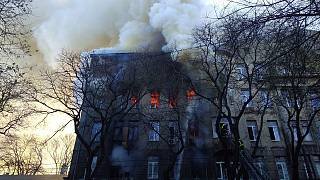 Крупный пожар в одесском колледже экономики, права и гостиничного бизнеса