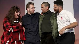 From left; Tai Shani, Lawrence Abu Hamdan, Helen Cammock and Oscar Murillo, after being announced as the winners for the 2019 Turner Prize at Dreamland Margate, in London