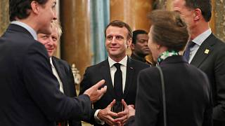 Britain's Princess Anne, Canadian Prime Minister Justin Trudeau, Britain's Prime Minister Boris Johnson, French President Emmanuel Macron and NATO Secretary General Stolberg