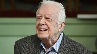 Former President Jimmy Carter teaches sunday school at Maranatha Baptist Church, Sunday, Nov. 3, 2019, in Plains, Ga. (AP Photo/John Amis)