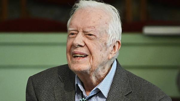 Former President Jimmy Carter teaches sunday school at Maranatha Baptist Church, Sunday, Nov. 3, 2019, in Plains, Ga. (AP Photo/John Amis)