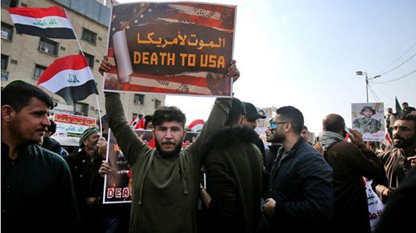 تجمع هواداران شبهنظامیان تحت حمایت ایران در میدان تحریر بغداد