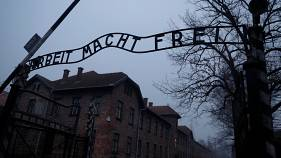 "The ""Arbeit Macht Frei"" gate at the former Nazi German concentration and extermination camp Auschwitz"