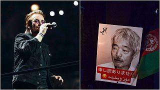 U2 Saitama Arena'da şarkılarını Tetsu Nakamura için söyledi - AFP
