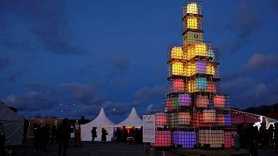 Colorful Christmas tree made by re-used plastic containers in Viimsi, Estonia