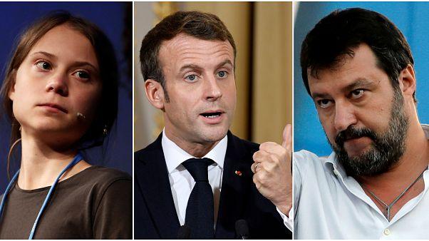 İsveçli iklim aktivisti Greta Thunberg, Fransa Cumhurbaşkanı Emmanuel Macron ve İtalya aşırı sağ politikacı Matteo Salvini