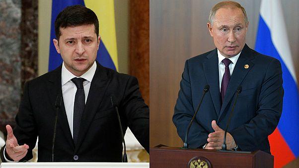 Ukraine's Volodymyr Zelenskiy (L) and Russia's Vladimir Putin