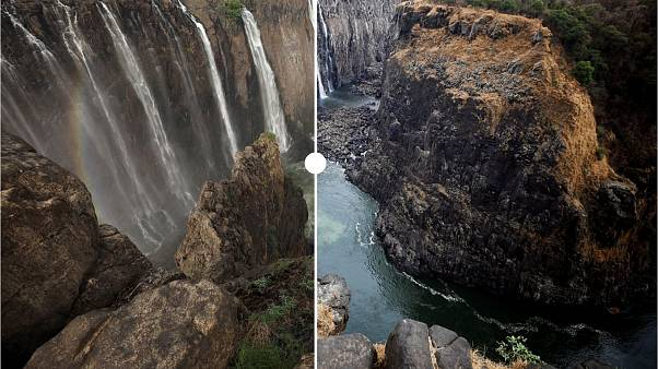 Victoria Falls runs dry: See how the worst drought in a century is hitting the tourist attraction