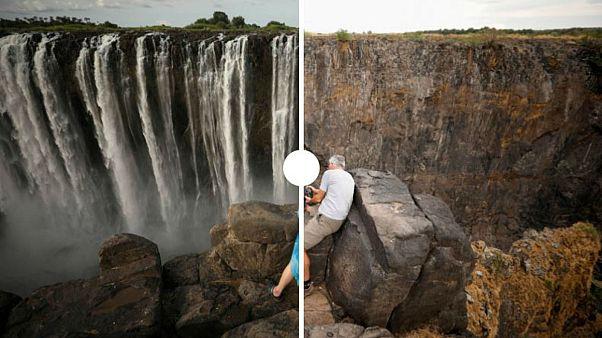 [PRIMA E DOPO] Le Cascate Vittoria senza acqua: è la peggiore siccità da un secolo