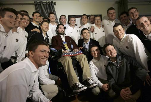 Pete Frates with members of the Boston College baseball team