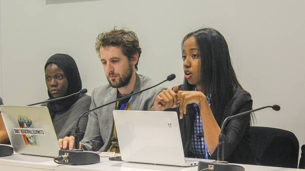 Linna Yassin speaking at a side event at COP24 about the role of young Africans in climate movements.