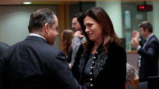 Varga Judit magyar  igazságügyminiszter és Konrad Szymanski lengyel európai uniós ügyekért felelős miniszter 2019. december 10-én Brüsszelben