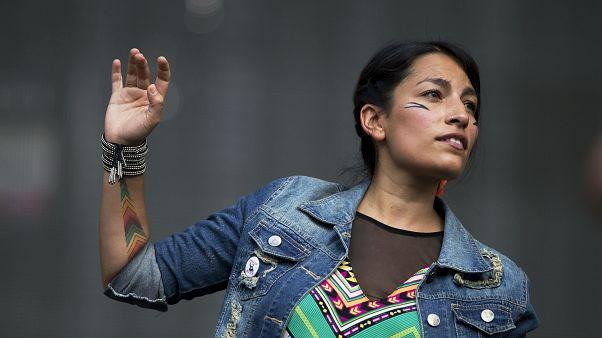 Ana Tijoux durante una actuación (Archivo)