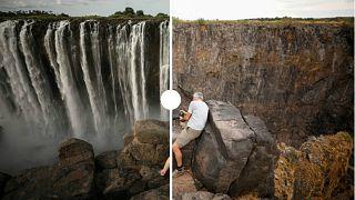 التغير المناخي.. صور صادمة لشلالات فيكتوريا قبل الجفاف وبعده