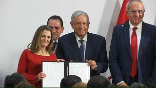 توقيع اتفاق التبادل الحر بين الولايات المتحدة وكندا والمكسيك بعد مراجعته