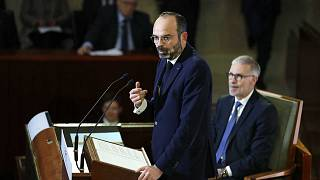 Le Premier ministre français Edouard Philippe à la tribune du Conseil économique, social et environnemental, le 11 décembre 2019 à Paris