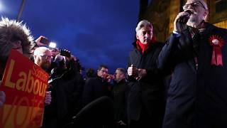 Britain's opposition Labour Party leader Jeremy Corbyn speaks to supporters in Glasgow, as part of his general election campaign, Britain, December 11, 2019.