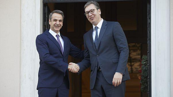 Ο πρωθυπουργός Κυριάκος Μητσοτάκης υποδέχεται τον Πρόεδρο της Σερβίας, Aleksandar Vucic