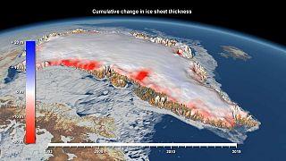 Zonas más afectadas por el derretimiento del casquete de Groenlandia
