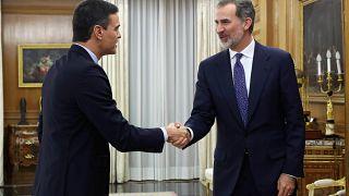 Pedro Sánchez durante su encuentro con el rey Felipe VI el miércoles