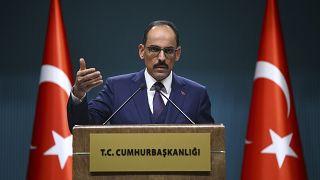 Cumhurbaşkanlığı Sözcüsü İbrahim Kalın Cumhurbaşkanlığı Külliyesi'nde basın toplantısı düzenledi
