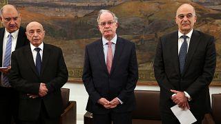 Ο πρόεδρος της Βουλής Κωνσταντίνος Τασούλας, ο ΥΠΕΞ Νίκος Δένδιαςκαι ο πρόεδρος της Βουλής της Λιβύης