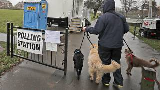 A voter with his dogs arrives at a polling station in Twickenham, London, Thursday, Dec. 12, 2019.