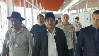 Evo Morales a su llegada a Argentina