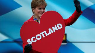 Leader of the Scottish National Party Nicola Sturgeon poses outside her bus as she embarks on a campaign trail in Edinburgh, Scotland, Britain, December 11, 2019.