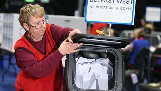 The first ballot boxes are opened at the count centre, Titanic Quarter, Belfast, Northern Ireland December 12, 2019.