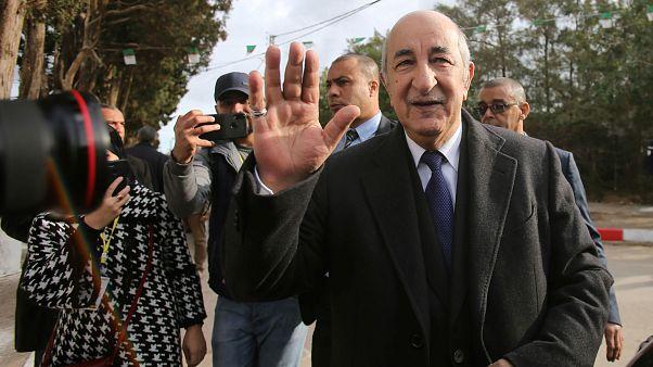 الرئيس الجزائري المنتخب عبد المجيد تبون في يوم الانتخاب في الجزائر. 2019/12/12