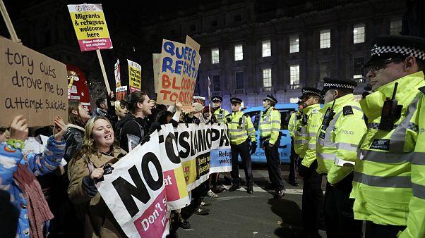 Protestos em Londres contra o resultado eleitoral