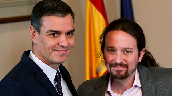 Spain's acting Prime Minister Pedro Sánchez and Podemos leader Pablo Iglesias