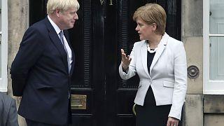 Scotland's First Minister Nicola Sturgeon welcomes Prime Minister Boris Johnson