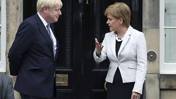 Scotland's First Minister Nicola Sturgeon welcomes Prime Minister Boris Johnson