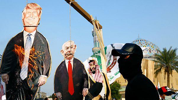 """مظاهرة لأنصار """"عصائب أهل الحق"""" رفضاً للعقوبات الأمريكية ضد قادتهم المدعومين من إيران"""