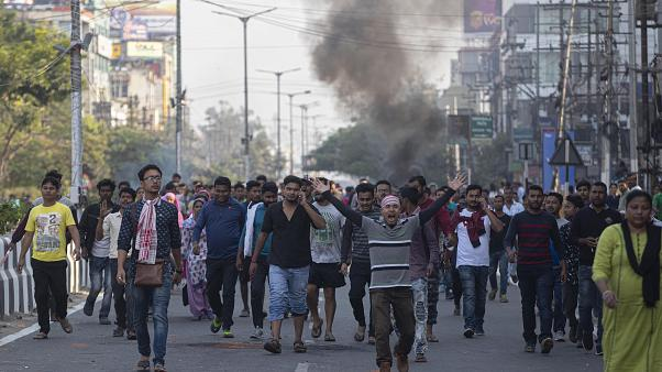Hindistan'ın Gauhati bölgesinde düzenlenen vatandaşlık yasası karşıtı gösteriler